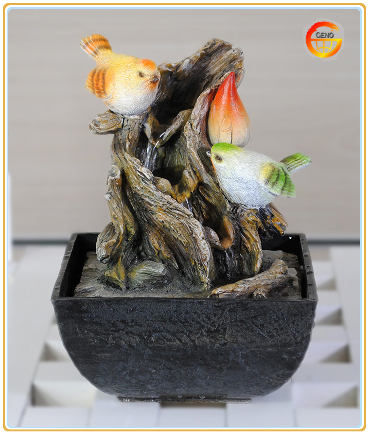 indoor resin crafts table top bird water fountain with home decoration