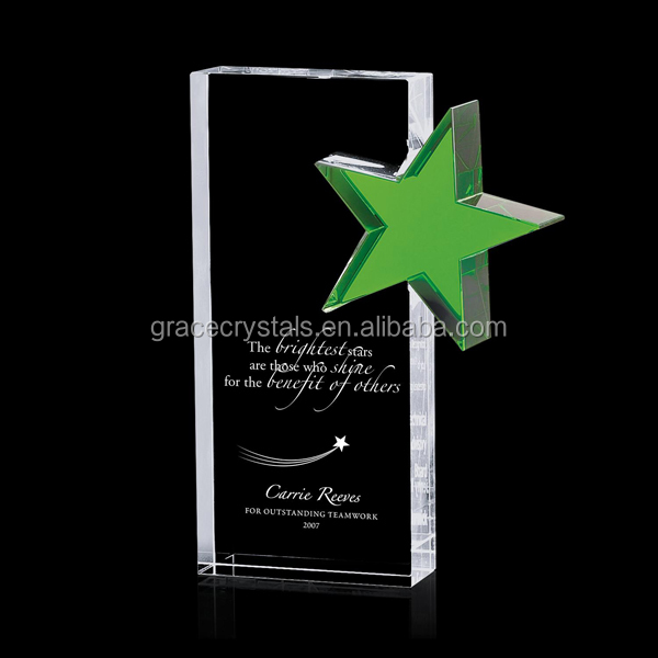 Laser etched block green crystal star crystal block