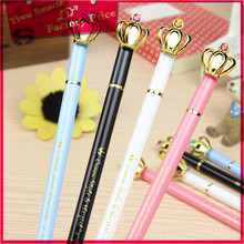 Popular stationery wholesale from china ,promotional cute cartoon crown design metal ball point pen with crystal