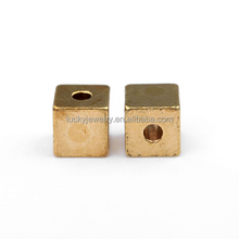 jewelry accessories suppliers 14k gold plated brass square slider beads for earring making