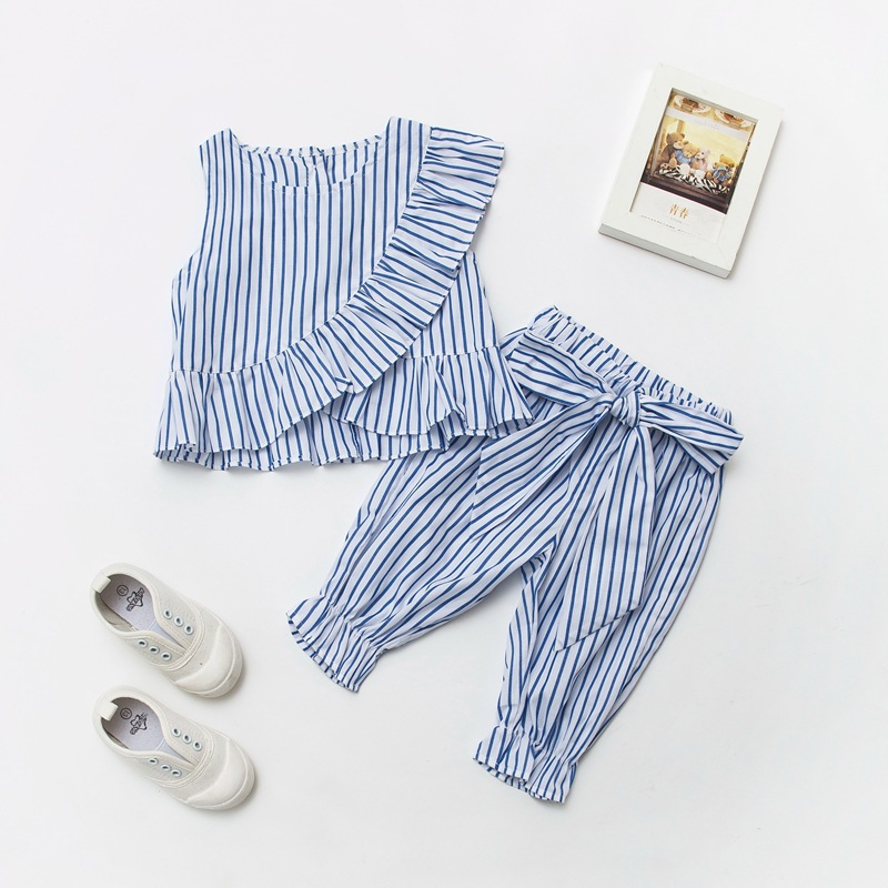 3color Boutique Children's Clothing Set Baby Girls Ruffles Shirt + Bow Raglan Pants Outfits Suit Summer Wear Stripe Kids Cothes