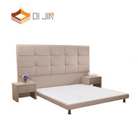 Hotel used studs high bed head upholstered solid wood soft bed