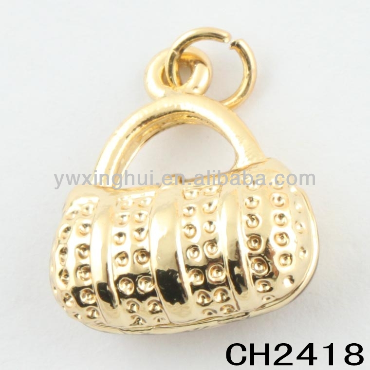 new 2014 zinc alloy gold purse charms manufacturer