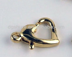 Gold plated lobster clasp with silver plated
