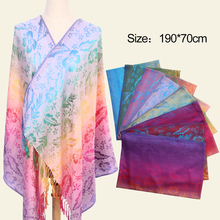custom design turkish jacquard cotton pashmina scarf shawl fashion women square scarves and shawls with tassels