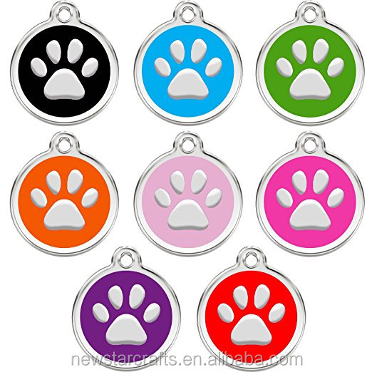 Stainless steel Round paw enamel Pet ID tags