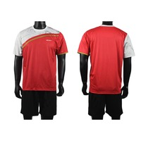 New model cheap sublimation red&white quick dry men soccer jersey with different name and No