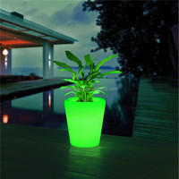 Waterproof IP54 PE plastic recharging glowing outdoor solar pots garden planters