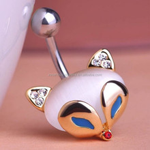New Arrival Blue Cat Eye Fire Fox Animal Navel Piercing Belly Button Rings Body Piercing Jewelry