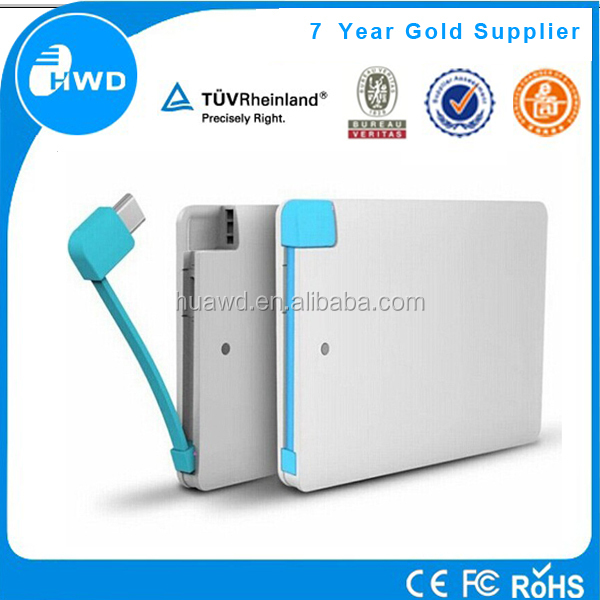 Plastic credit card power bank,2500mAh Ultra-Thin Wallet Sized Portable USB External Battery Charger