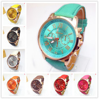 New Fashion Round 2 zones ladies Solar pattern cheap geneva leather watch women,geneva leather band watch hot sale