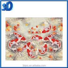 2016 newest Cute Colorful Printed Gold Fish 3d Lenticular Art Picture