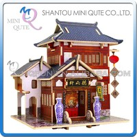 Mini Qute 3D Wooden Puzzle Chinese classic Tea House architecture famous building Adult kids model educational toy gift NO.F131
