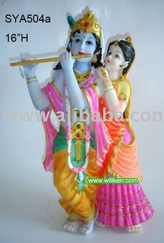 Poly resin Hindu God Statue (Rodha Krishna)