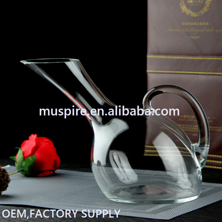 Custom wholesale special art glass decanter with handle