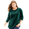 Women's Plus Size Top Sweatshirt Pullover Style Classic crewneck Tunic-Length Velour