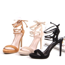 2017 sexy popular women ankle lace up heels sandals shoes
