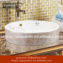 jingdezhen white Flat ground ceramic bathroom art sink
