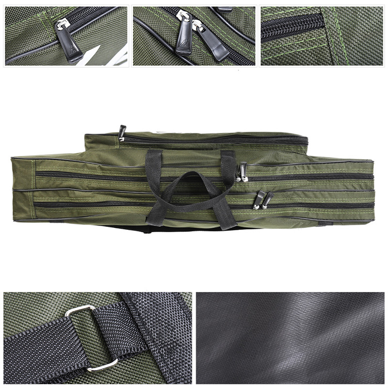Wholesale double layer big belly 80cm sea fishing bag fishing pole and fishing gear soft bags