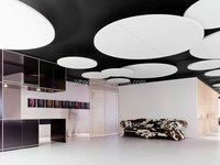 High sound absorbing suspended Acoustical Clouds and Shapes