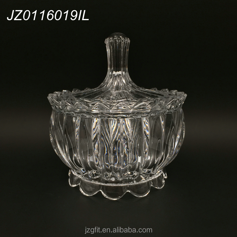 Hot sale wholesale factory price high-white material 15cm round design clear crystal glass candy jar, glass sugar pot with lid