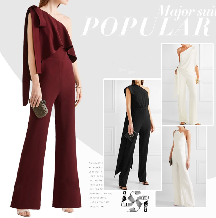 2017 Fashion chiffon one-shoulder and one piece bowknot strap loose jumpsuit China manufactory