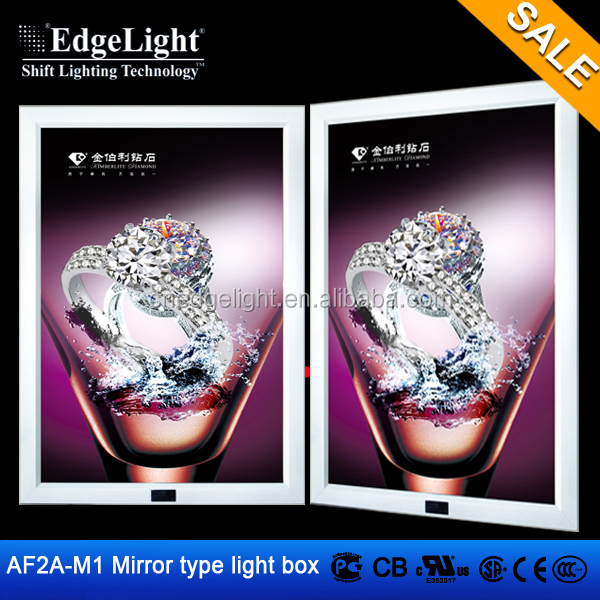 Edgelight AF2A-M1 led programmable display board , mirror type , DC12V CE/ROHS/UL listed magic led slim snap frame light box