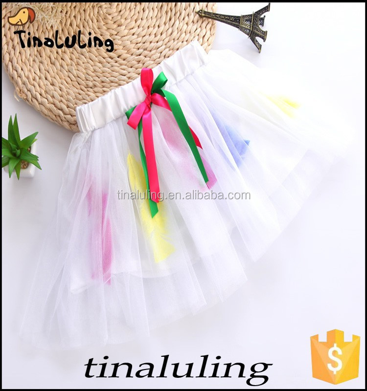 baby pettiskirt girls white classical ballet tutu skirts with rainbow ribbon and feather