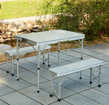 Outdoor folding aluminum picnic table and bench set