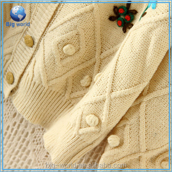 bigworld fashion cotton sweater women knitwear embroider flower图片