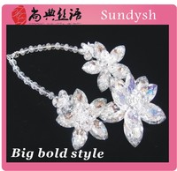 vintage charms high quality bridal glass artificial new age fantasy raw fashion forever wedding flower bouquet crystal jewelry