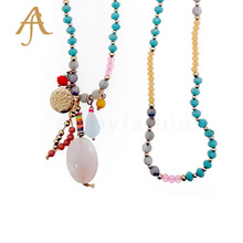 fashion Resin Crystal Gem Stone rosary women gold plated necklace