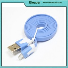 Colorful Flat Noodle Cable Micro USB to 2.0 USB Charger cable for Samsung/ HTC/ BlackBerry