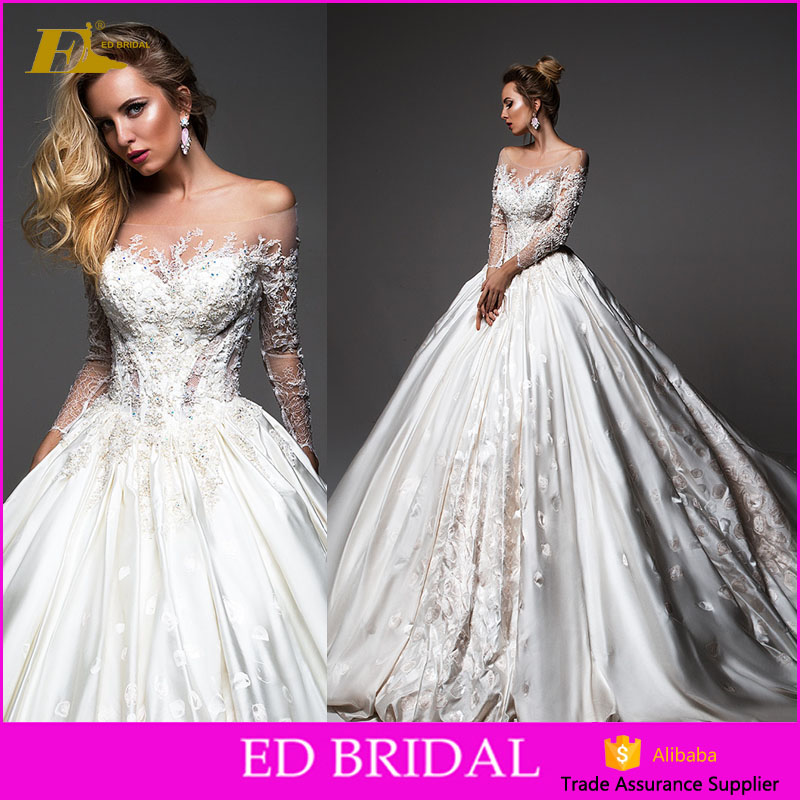 New Collection Off Shoulder Long Sleeve Satin Wedding Gown 2017