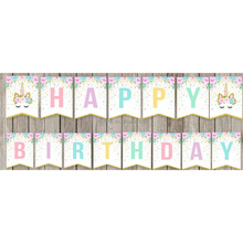 Amozon Happy Birthday Bunting Banner Rainbow Unicorn Themed Party Favors Decorations For Cute Fantasy Fairy Girls