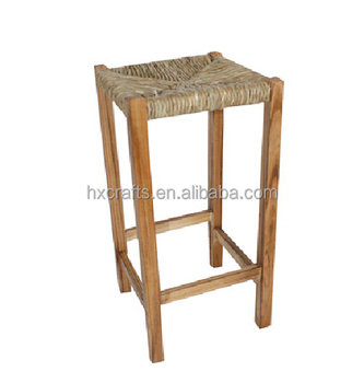 Square Rush Seat Bar Stool In Oak  sc 1 st  Cao County Haixin Handicraft Factory - Wood Cabinetstorage cabinet : bar stools with rush seats - islam-shia.org