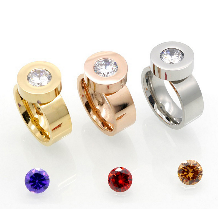 alibaba en four colors can be replaced cz stone gold silver jewelery illuminati ring