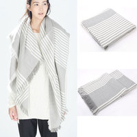 fashion women wear gray plaid square blanket scarf shawl