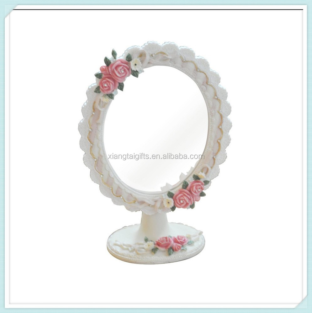 Antique Roses Frame Resin Oval Mirror For Table Decor