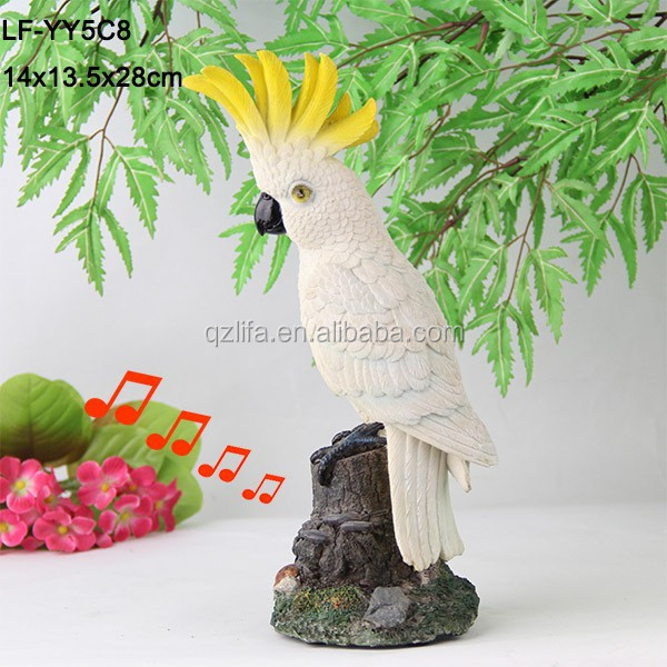 Yellow hair resin parrot decoration with motion sensor