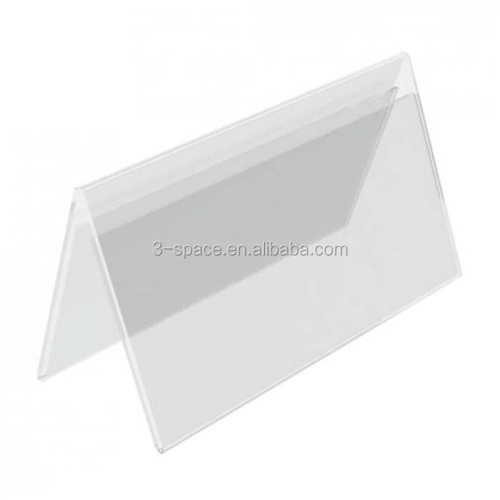 V Shape Double Side Free Stand acrylic tabletop sign holder V Shape Name Plate Acrylic Sign Holder