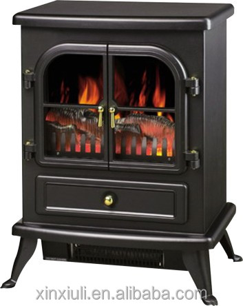 EF-22 two doors wooden case mini freestanding real log flame effect used electric fireplace