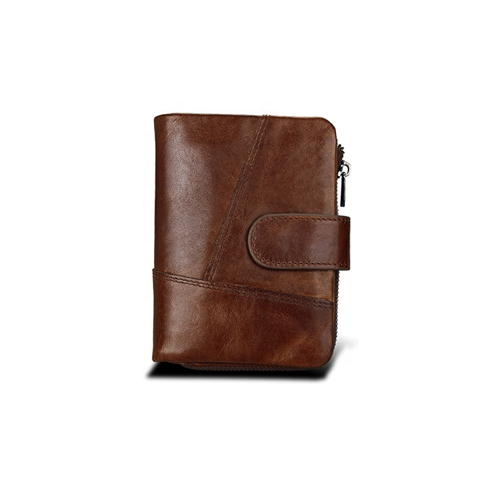 Short Style Bifold Real Leather Zip Coin Wallet Men RFID blocking Leisure Purse