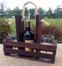 Single pack Wooden Wine carrier for gift/ Chinese OEM rustic style wooden wine rack/ wine holder