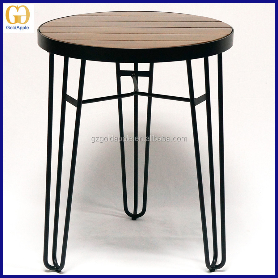 Cafe restaurant wooden round dining table outdoor wire for Table cuisine 1 pied