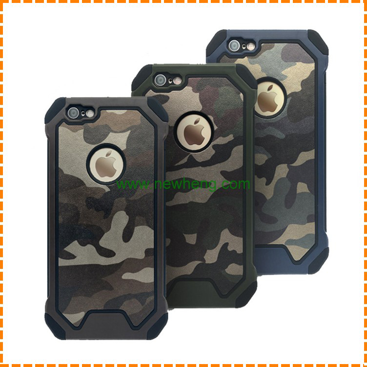 new hot product Army Style Camouflage PC TPU leather mobile phone case for iphone 6 6s plus