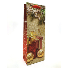 spot sales stock luxury glitter printing Christmas paper wine bag gift with ribbon handle