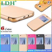 Ultra Thin Leather Flip Mobile Phone Case For Samsung Galaxy S6 S VI G9200 Window View Shock-Proof Cover For Galaxy S6