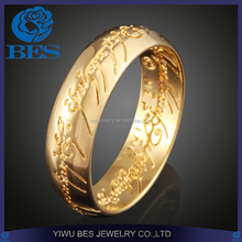 Elvish Script Engraved The Lord of the Rings Gold Ring Designs for Men