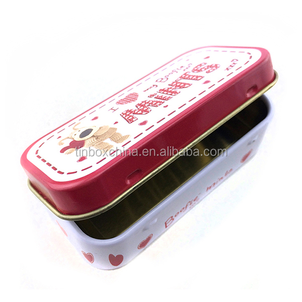 New product rectagular decorative hinged lid mint/candy/sugar tin box